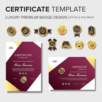 Modello di progettazione certificato professionale con set di badge premium