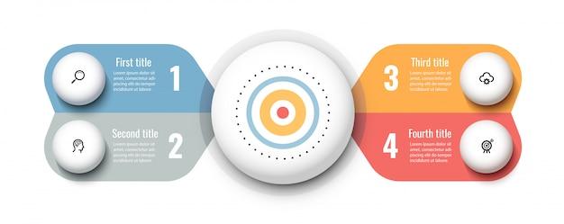 Modello di progettazione circolare infografica con icone e 4 opzioni o passaggi. concetto di affari.