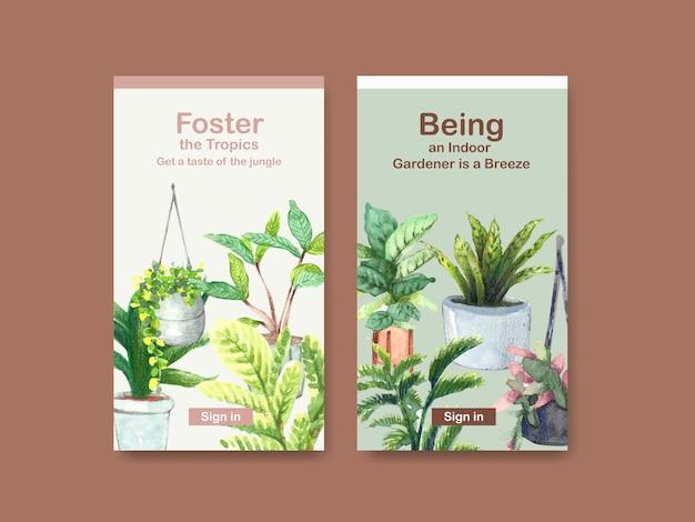 Modello di progettazione con piante estive e piante da appartamento per social media, community online, internet e pubblicità dell'acquerello