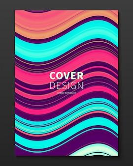 Modello di progettazione copertina vettoriale con linee deformate di colore sfumato.