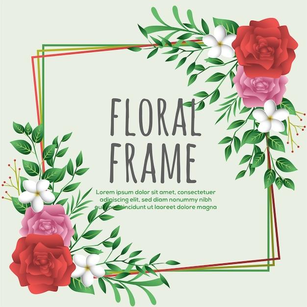 Modello di progettazione cornice floreale piatta