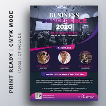 Modello di progettazione creativa di business conference flyer