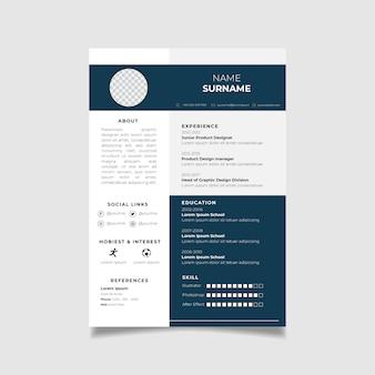 Modello di progettazione curriculum professionale con stile minimalista