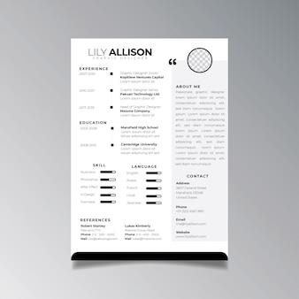 Modello di progettazione curriculum professionale minimalista. vettore di layout aziendale per modello di applicazioni di lavoro.