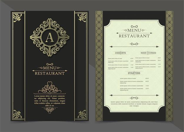 Modello di progettazione del buono regalo di lusso del ristorante del menu