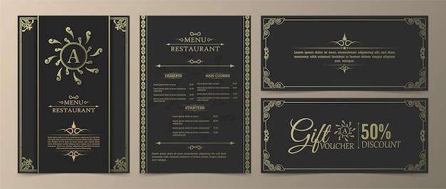 Modello di progettazione del buono regalo di lusso del ristorante del menu.