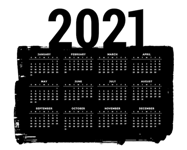 Modello di progettazione del calendario 2021 del nero di stile del grunge astratto