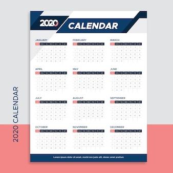 Modello di progettazione del calendario per il 2020