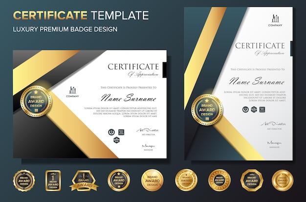 Modello di progettazione del certificato con badge