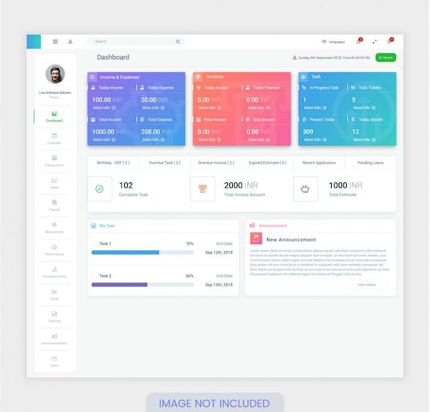 Modello di progettazione del dashboard dei dipendenti per ui ux design premium