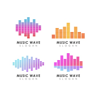 Modello di progettazione del logo dell'onda sonora