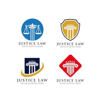 Modello di progettazione del logo di legge di avvocato e giustizia
