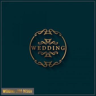 Modello di progettazione del logo di nozze. ornamento di progettazione di logo di matrimonio elegante femminile