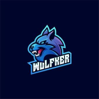 Modello di progettazione del logo di wolf esport