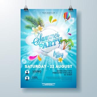 Modello di progettazione del manifesto del partito di estate con il fiore, le foglie di palma e la nuvola su fondo blu. illustrazione di festa