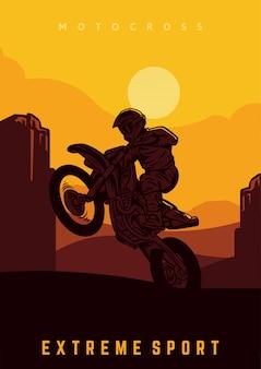 Modello di progettazione del manifesto di motocross con l'illustrazione di vettore del sole e della siluetta