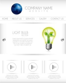 Modello di progettazione del sito web con illustrazione vettoriale lampadina
