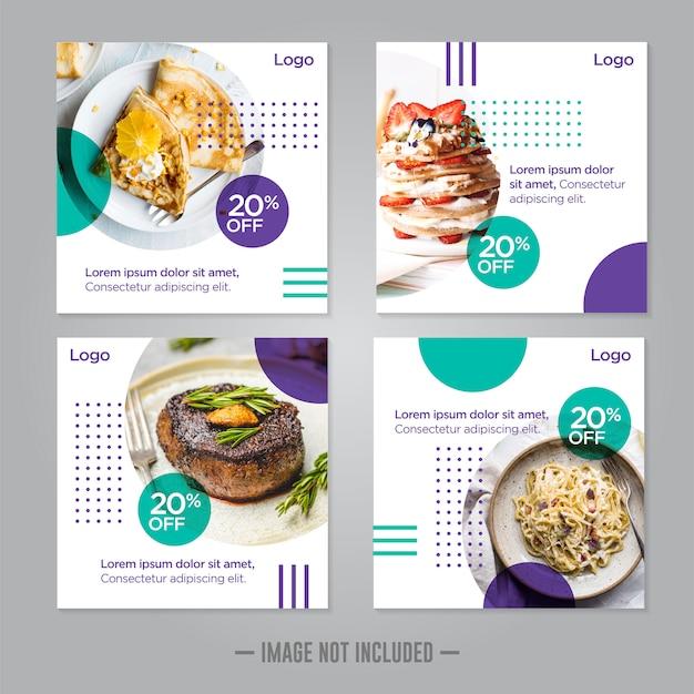 Modello di progettazione dell'alimento dell'insegna di media sociali dell'alimento del ristorante