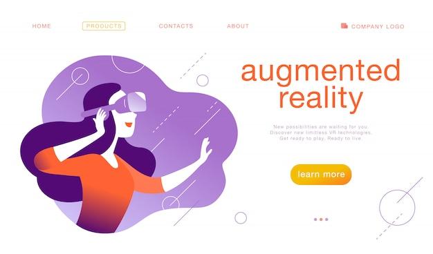 Modello di progettazione della pagina di destinazione per la nuova tecnologia vr - donna in cuffia / casco / occhiali per occhiali vr in realtà virtuale aumentata astratta. stile piatto.