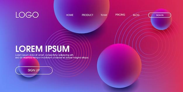 Modello di progettazione della pagina web di palla di cerchio liquido colorato moderno