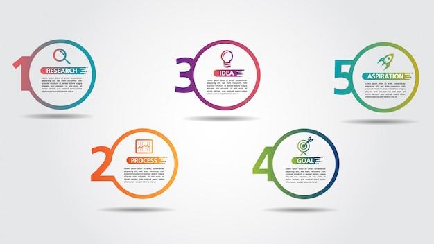 Modello di progettazione di affari infografica con opzioni o passaggi