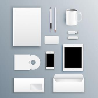 Modello di progettazione di articoli di cancelleria con diversi elementi. documentazione per le imprese.