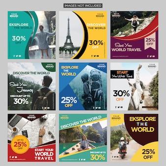 Modello di progettazione di avventura sociale di media di viaggio travel premium vector