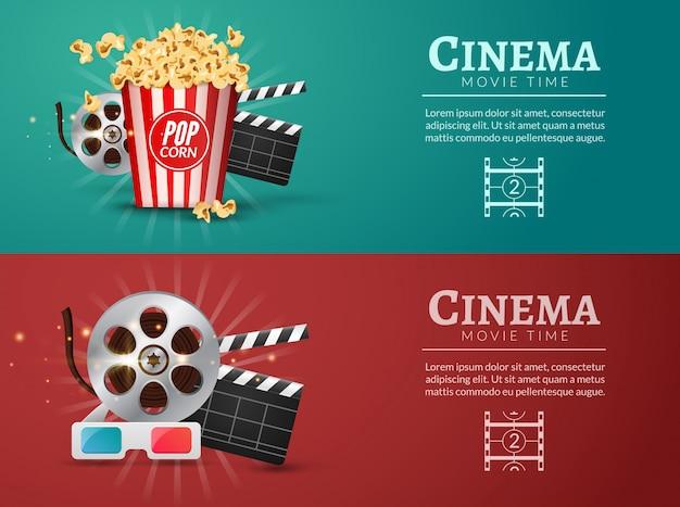 Modello di progettazione di banner di film di film. concetto di cinema con popcorn, filmina e battaglio di pellicola.
