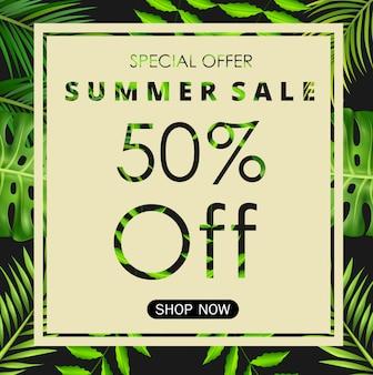 Modello di progettazione di banner estate vendita con foglie tropicali