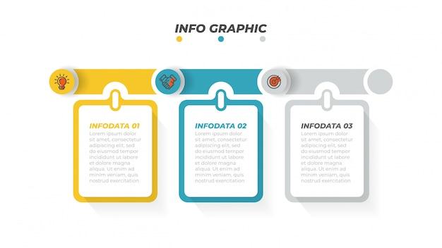 Modello di progettazione di business infografica con icone di marketing e 3 opzioni, passaggi o processi. illustrazione vettoriale