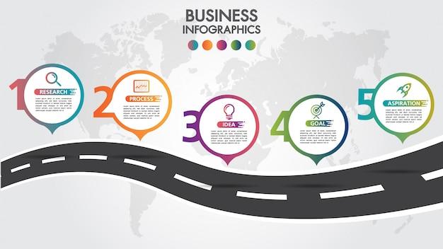 Modello di progettazione di business infografica con puntatore pin icone colorate e 5 numeri opzioni.