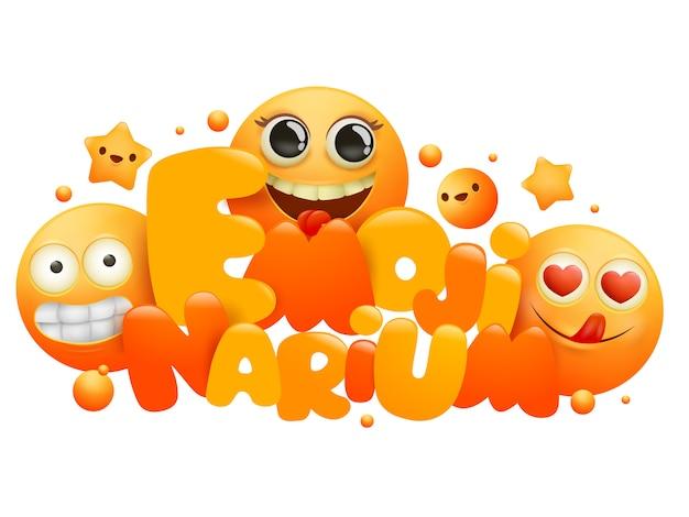 Modello di progettazione di carta concetto emojinarium con personaggi dei cartoni animati emoji