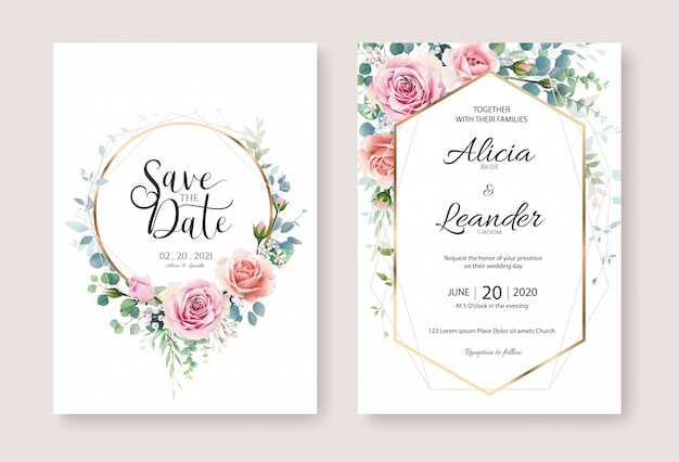 Modello di progettazione di carta dell'invito di nozze del fiore della rosa arancio e rosa.