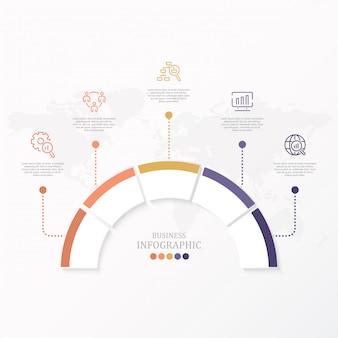 Modello di progettazione di cerchi infografica vettoriale con cinque opzioni o passaggi.