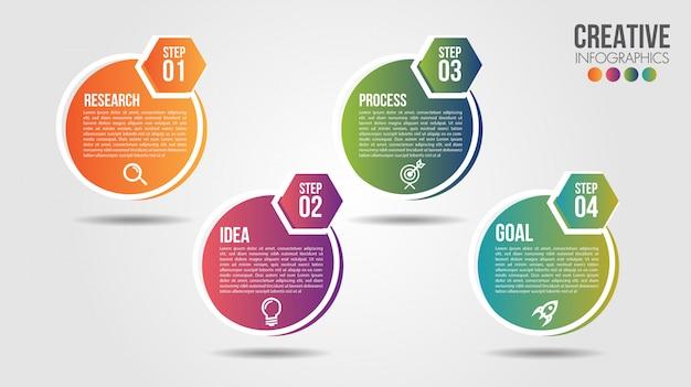 Modello di progettazione di cronologia di infographic di affari con icone e 4 numeri opzioni o passaggi
