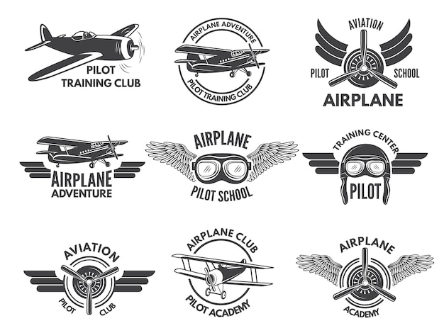 Modello di progettazione di etichette con immagini di aeroplani
