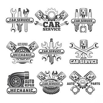 Modello di progettazione di etichette e distintivi con strumenti e dettagli automobilistici