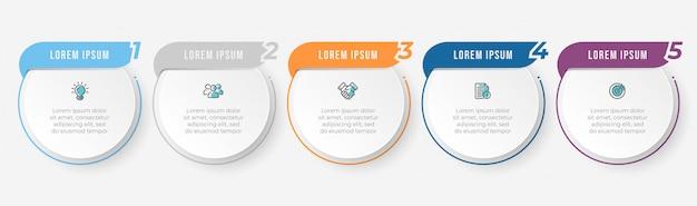Modello di progettazione di etichette infographic di affari con icone e 5 opzioni o passaggi.