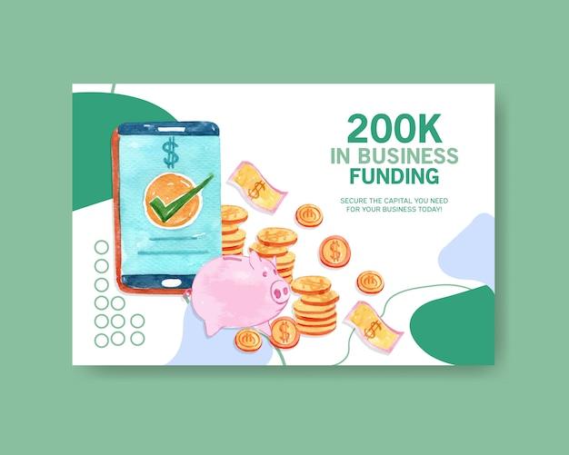 Modello di progettazione di facebook con il porcellino salvadanaio con l'illustrazione disegnata a mano dell'acquerello delle monete