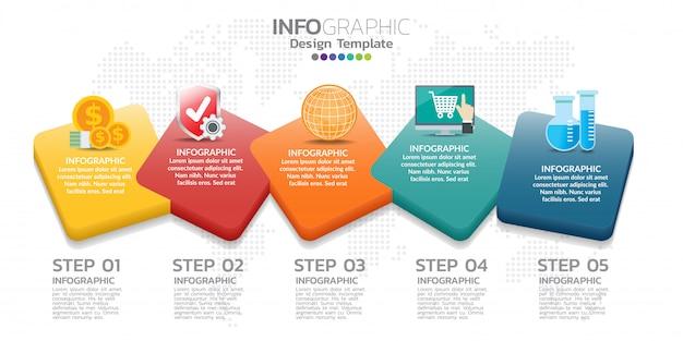 Modello di progettazione di infographics di cronologia con 5 opzioni, diagramma trattato, illustrazione di vettore eps10