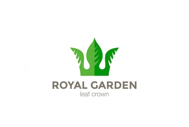 Modello di progettazione di logo astratto della corona delle foglie verdi. icona di concetto di logotipo di affari creativi natura eco.