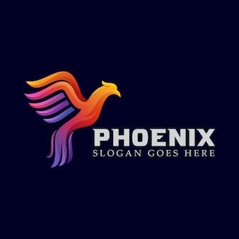 Modello di progettazione di logo colorato phoenix