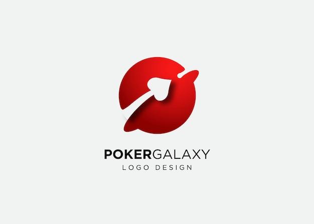 Modello di progettazione di logo del pianeta del poker