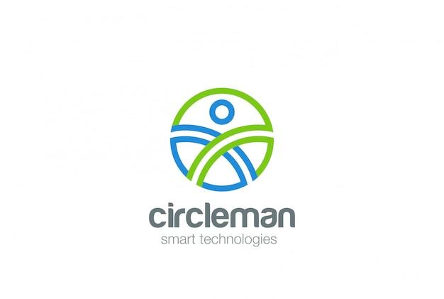 Modello di progettazione di logo dell'estratto dell'uomo del cerchio. icona di concetto di digital people generation game technology web logotype