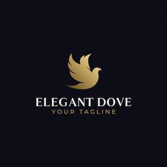 Modello di progettazione di logo dell'uccello di volo elegante astratto della colomba