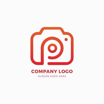 Modello di progettazione di logo della lettera p della macchina fotografica della foto