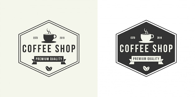 Modello di progettazione di logo di caffetteria.