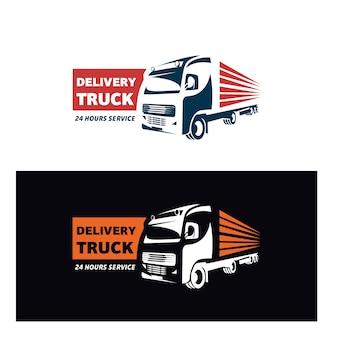 Modello di progettazione di logo di consegna camion esatto