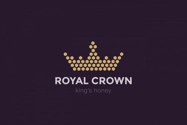 Modello di progettazione di logo di corona di cellule esagonali. icona di idea reale re miele logotype concetto