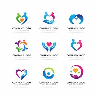 Modello di progettazione di logo di cura di persone moderne
